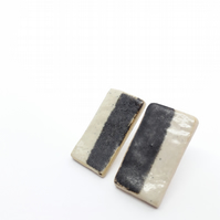 Stoneware Earrings Black and White
