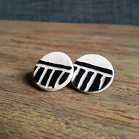 Stoneware Ceramic Sgraffito Earrings, Ceramic Stud Earrings
