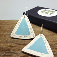 Handmade Triangle Ceramic Drop Earrings, modern ceramic minimalist designer