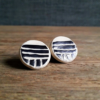 Stoneware Ceramic Sgraffito Earrings, Ceramic Stud Earrings Black and White Mono