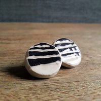 Stoneware Ceramic Sgraffito Earrings, Ceramic Stud Earrings Black and White