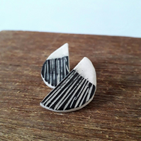 Statement Ceramic Earrings Sgraffito, Stoneware Ceramic Stud Earrings