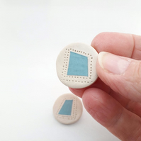 Blue Square Ceramic Stud Earrings, handmade round minimalist earrings
