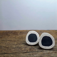 Handmade ceramic earrings, modern monotone stud earrings, minimalist