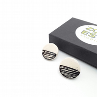 Ceramic Sgraffito Earrings, black and white minimalist stud earrings