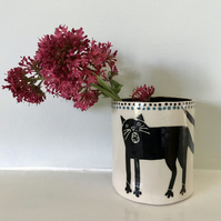 Ceramic cat pot, original cat illustration,ceramic decorative pot, plant, pencil