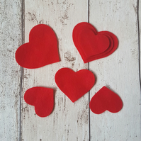 Red Felt Hearts, die cut for card making or embellishment, Valentine's, Weddings