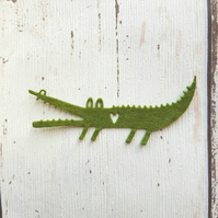 Green Felt Crocodile, Die cut crocodiles, die cut felt,  felt alligators, felt