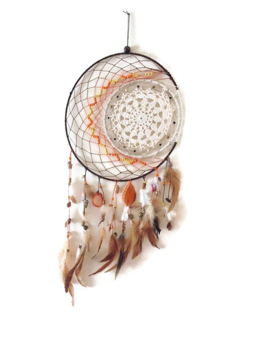 "Large 12"" sun and moon dream catcher wall hanging."
