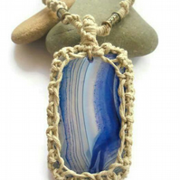 Macrame necklace pendant, banded agate gemstone jewellery