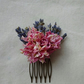 Dried Lavender and pink delphinium, dried flower hair comb. Unique and beautiful