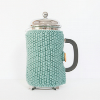 Teal knit coffee cosy - Cafetiere cosy - Coffee jug warmer - French press cover
