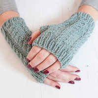 Dusky blue fingerless gloves - Hand warmers - Fingerless mittens -Knitted gloves