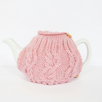 Pink hand knit tea cosy - Teapot cosy - Tea lover's gift