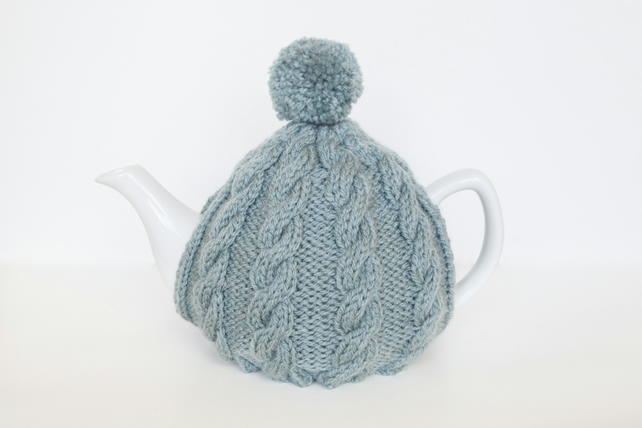 Blue hand knit tea cosy - Pom pom tea cosy - Teapot cover & warmer