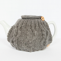 Grey hand knit tea cosy - Teapot cosy - Tea lover's gift
