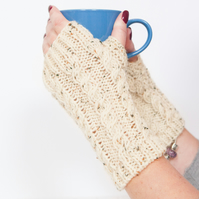 Oatmeal fingerless gloves - Hand warmers - Fingerless mittens - Knitted gloves