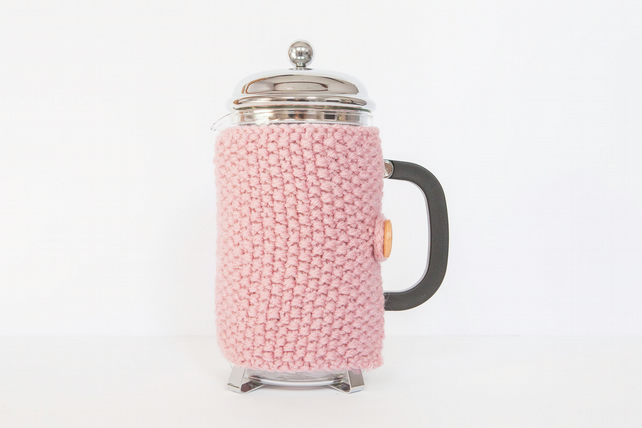 Pink knit coffee cosy - Cafetiere cosy - Coffee jug warmer - French press cover