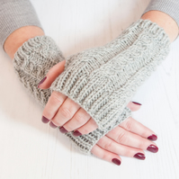 Grey fingerless gloves - Hand warmers - Fingerless mittens - Knitted gloves