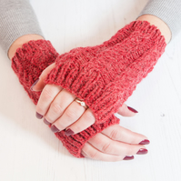 Red fingerless gloves - Hand warmers - Fingerless mittens - Knitted gloves