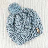 Thick Chunky Mint Blue Bobble Hat. Pom Pom Hat. Hand Knitted Wool Blend Beanie.