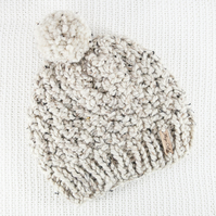 Thick Chunky Oatmeal Bobble Hat. Pom Pom Hat. Hand Knitted Wool Blend Beanie.