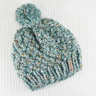 Thick Chunky Green Bobble Hat. Pom Pom Hat. Hand Knitted Wool Blend Beanie.