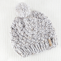 Thick Chunky Light Grey Bobble Hat. Pom Pom Hat. Hand Knitted Wool Blend Beanie.