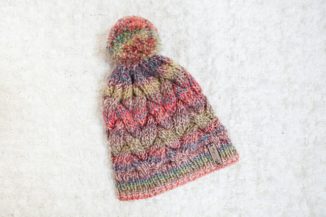 20468e07c0770 Chunky Cable Red Mix Alyssa Hat. Pom Pom Hat. H... - Folksy