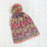 Chunky Cable Red Mix Alyssa Hat. Pom Pom Hat. Hand Knitted Wool Blend Beanie.