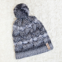 Chunky Cable Grey Mix 'Alyssa' Hat. Pom Pom Hat. Hand Knitted Wool Blend Beanie.