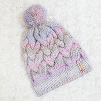 Chunky Cable Pink Mix Alyssa Hat. Pom Pom Hat. Hand Knitted Wool Blend Beanie.