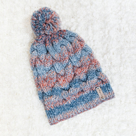 Chunky Cable Blue Mix Alyssa Hat. Pom Pom Hat. Hand Knitted Wool Blend Beanie.