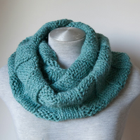 Hand knitted sea green alpaca scarf. Infinity, Cowl, Circle scarf.  Super soft!