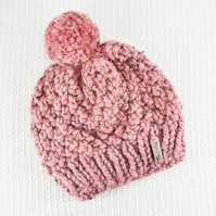 Thick Chunky Rose Blush Bobble Hat. Pom Pom Hat. Hand Knitted Wool Blend Beanie.