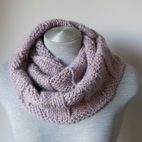 Hand knitted rose pink alpaca scarf. Infinity, Cowl, Circle scarf.  Super soft!