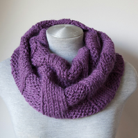 Hand knitted purple alpaca scarf. Infinity, Cowl, Circle scarf.  Super soft!