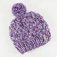 Thick Chunky Purple Bobble Hat. Pom Pom Hat. Hand Knitted Wool Blend Beanie.