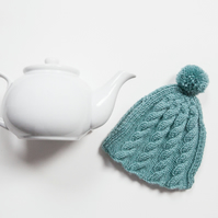 Teal hand knitted tea cosy - Pom pom tea cosy - Teapot cover & warmer