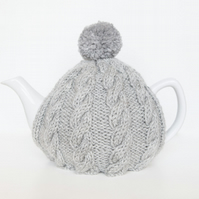 Light Grey hand knitted tea cosy - Pom pom tea cosy - Teapot cover & warmer