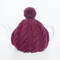Plum hand knitted tea cosy - Pom pom tea cosy - Teapot cover & warmer