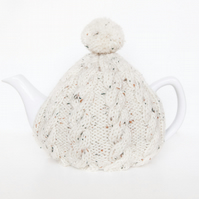 Oatmeal hand knitted tea cosy - Pom pom tea cosy - Teapot cover & warmer