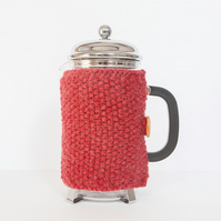 Red knit coffee cosy - Cafetiere cosy - Coffee jug warmer - French press cover