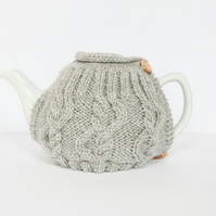 Light Grey hand knitted tea cosy - Teapot cosy - Tea lover's gift