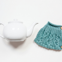 Teal hand knit tea cosy - Teapot cosy - Tea lover's gift