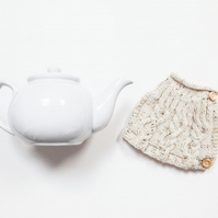 Oatmeal hand knitted tea cosy - Teapot cosy - Tea lover's gift