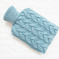 Hand knitted hot water bottle cover, cosy in teal. Rustic bedroom, home decor.