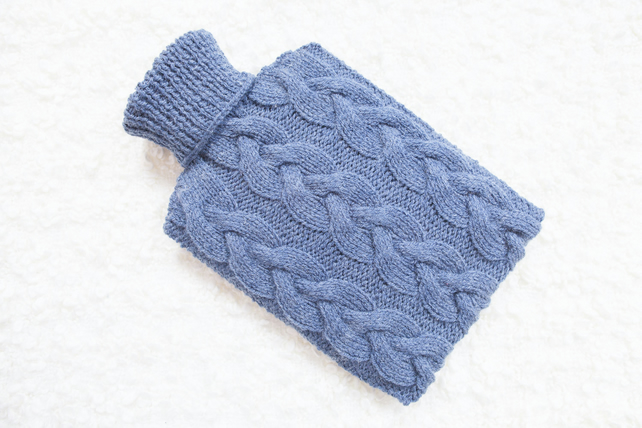 Hand knitted hot water bottle cover, cosy in denim. Rustic bedroom, home decor.