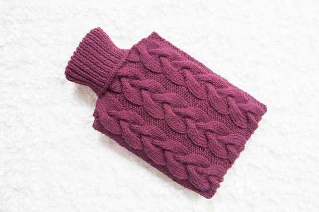 Hand knitted hot water bottle cover, cosy in plum. Rustic bedroom, home decor.