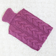 Hand knitted hot water bottle cover, cosy in berry. Rustic bedroom, home decor.